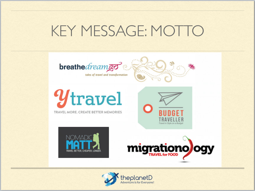 Travel Bloggers with Key Messages and Mottos