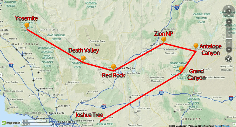 United States National Parks road trip map