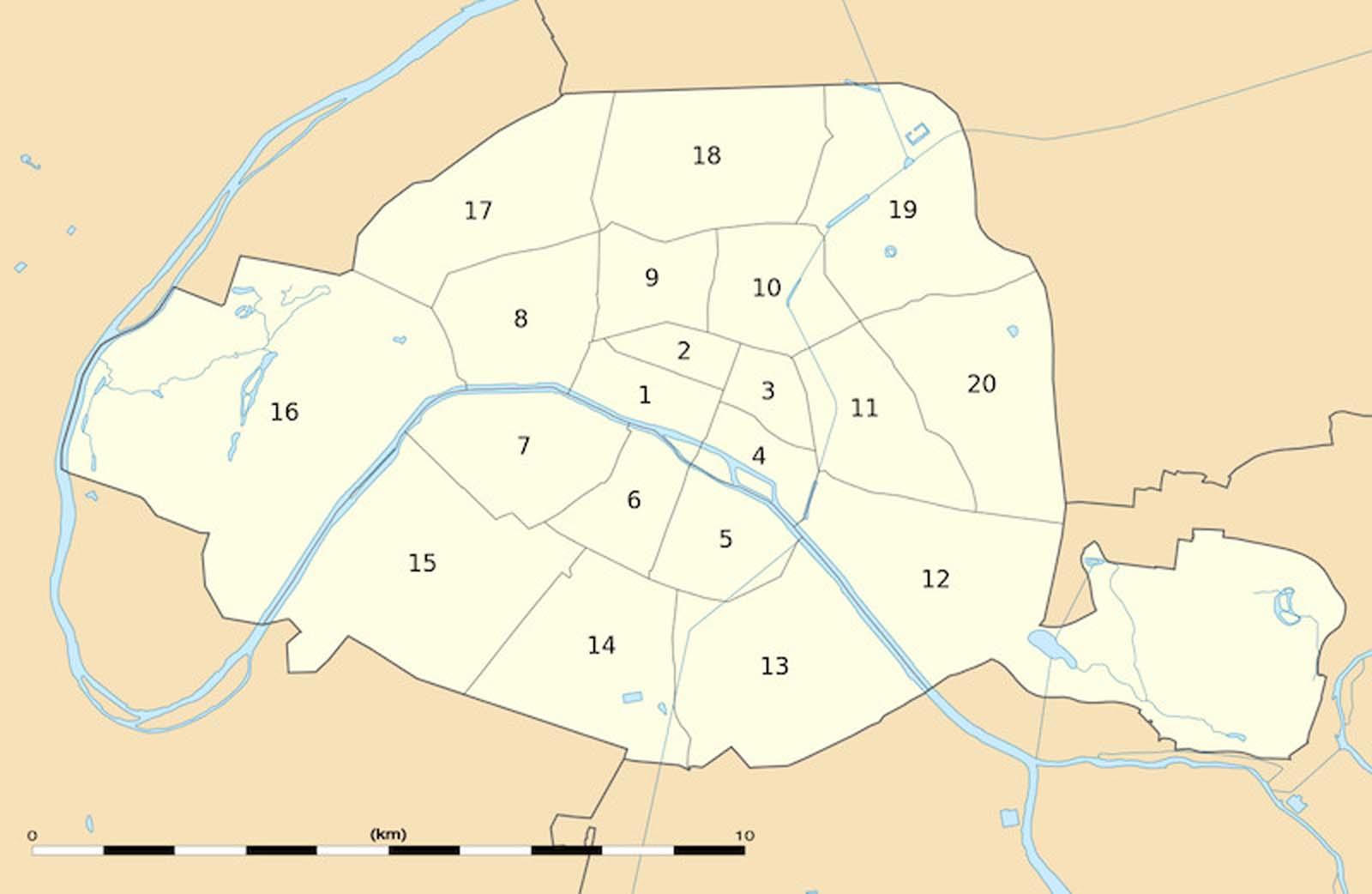 Paris neighbourhoods arrondissements map