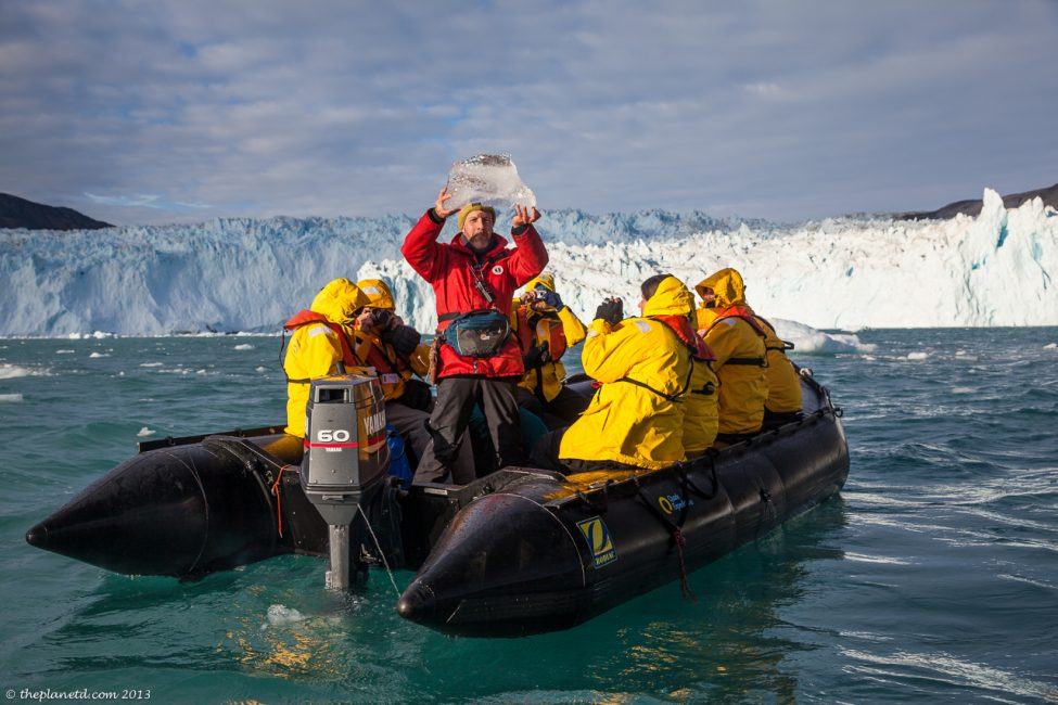 Zodiacs are are the way to get around in Greenland