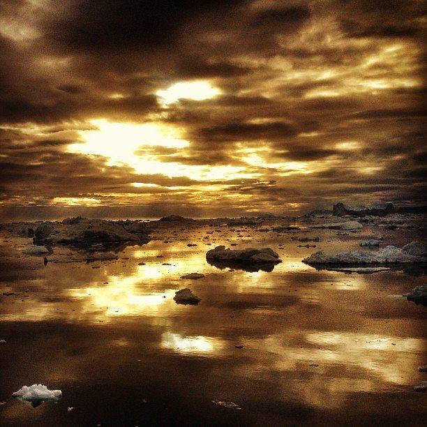arctic sunrise over ice