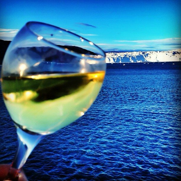 glass of wine in the arctic