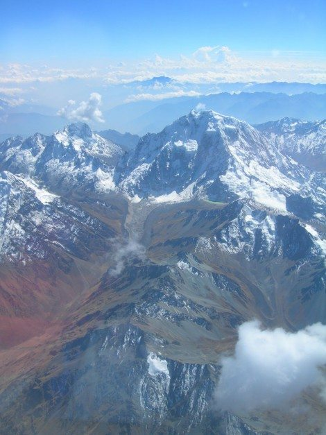 View of the Andes from plane, peru