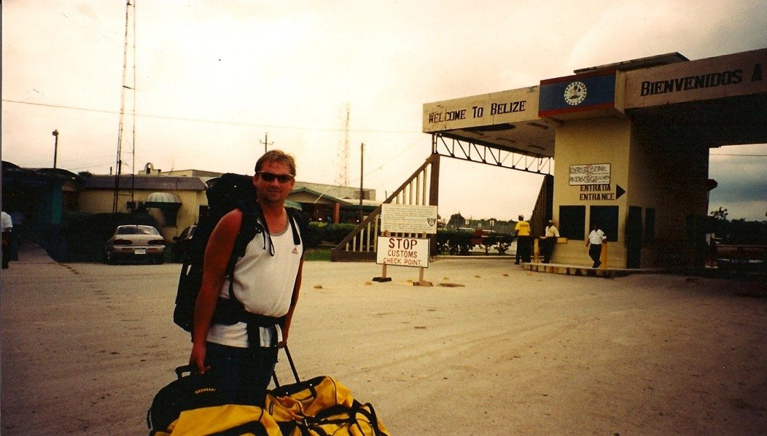 At the Belize Border, Lugging Dive Gear