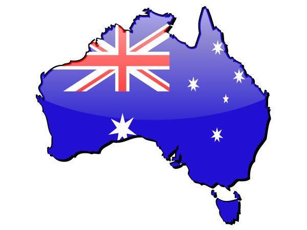 australia map with flag