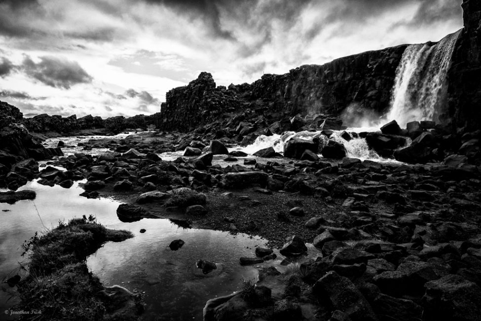 Iceland Waterfall In Black & White