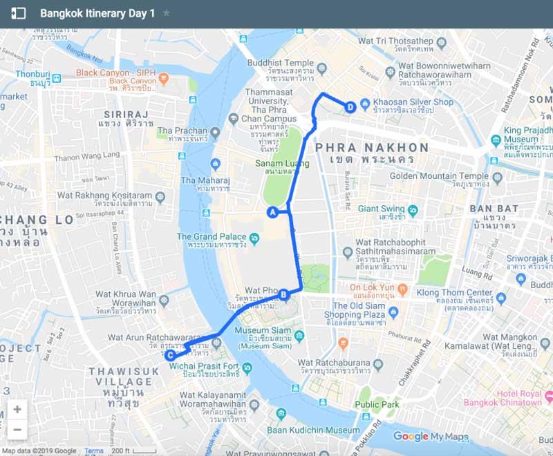 bangkok itinerary map day 1