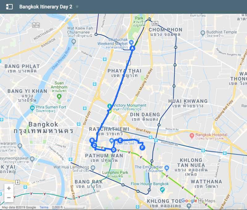 bangkok itinerary day 2 map