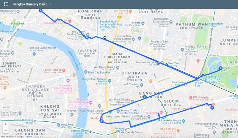 bangkok itinerary map day 3