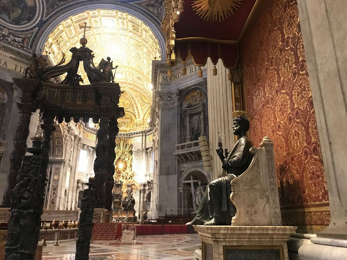 Inside St Peter's Basilica Rome itinerary