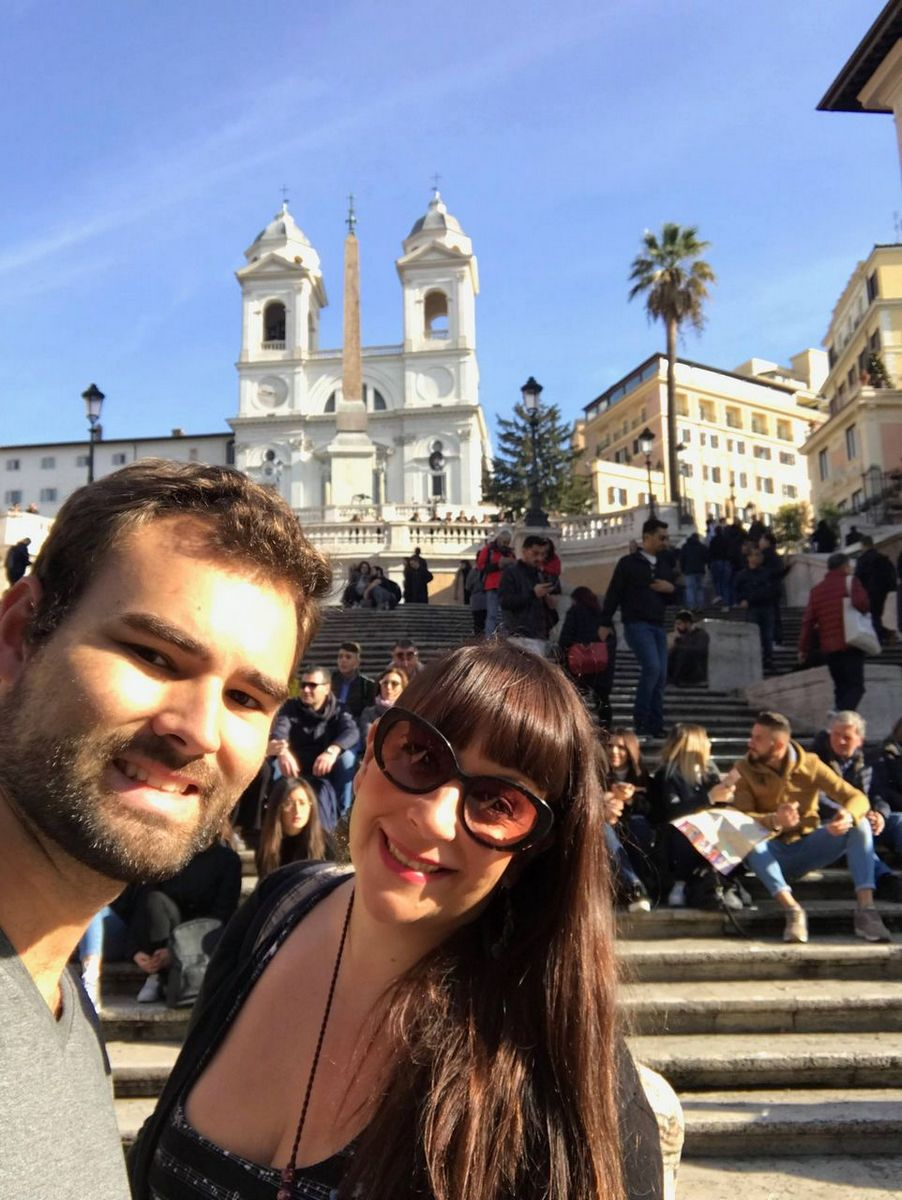 At the Spanish steps on the 3rd day of our Rome itinerary