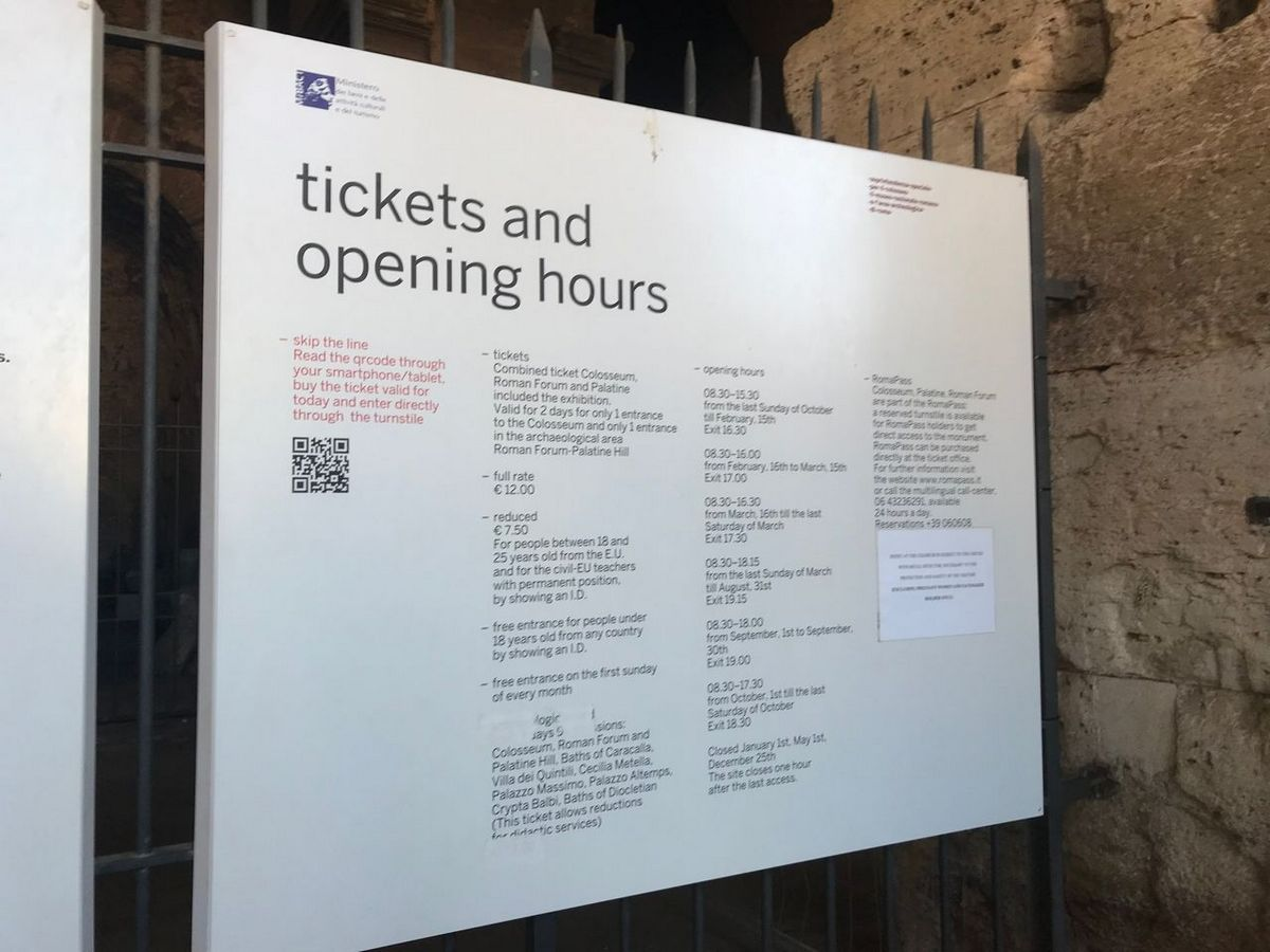 Tickets and opening hours sign with qrcode on it to look out for