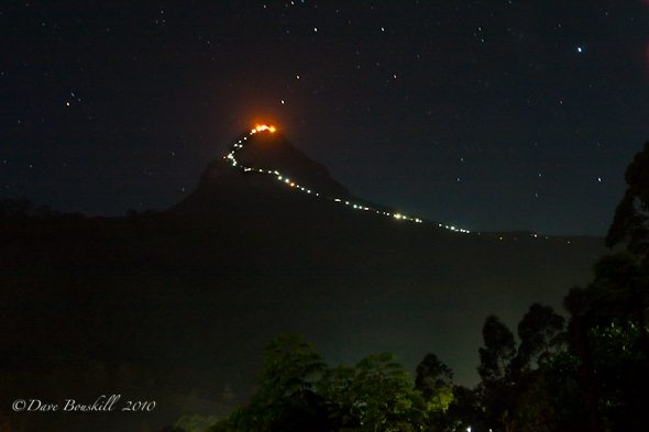 lights leading up to adams peak