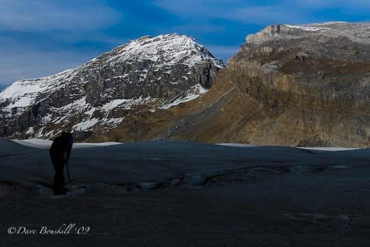 checking ice of athabasca glacier