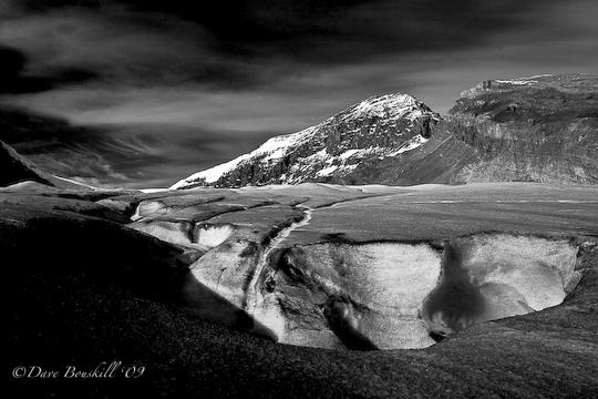 Black and white photo of Athabasca Glacier