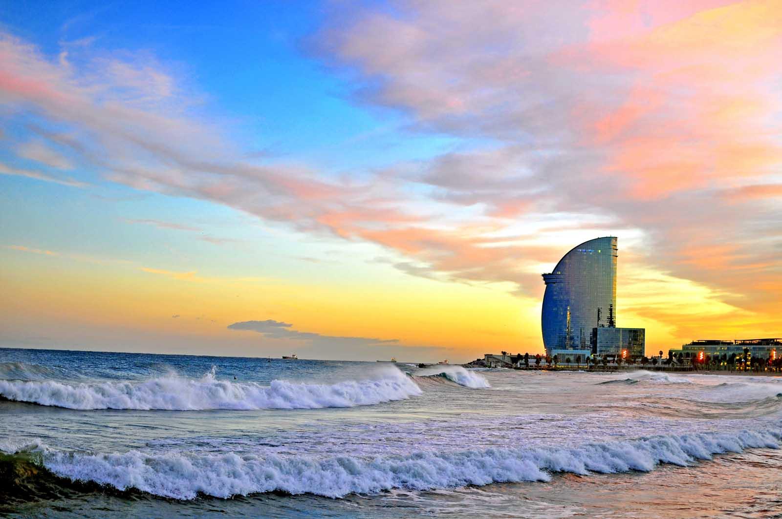 Barcelona Beach at sunset