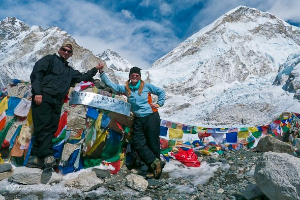 Everest Base camp prayer flags monument