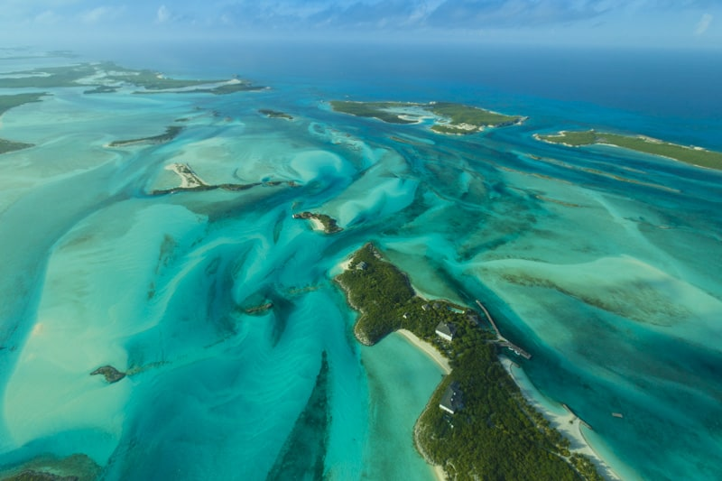 The Exuma Cays in the Bahamas from above