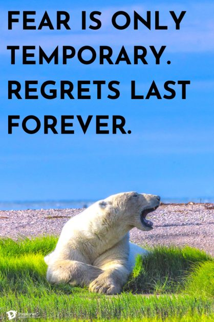 best travel quotes for motivation | fear is only temporary, regrets last forever