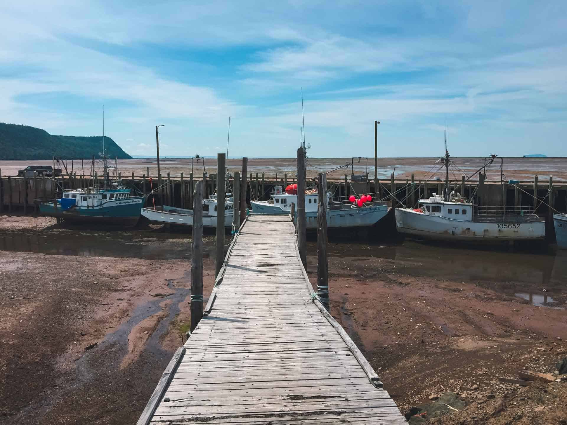 halls harbour boats at low tide bay of fundy