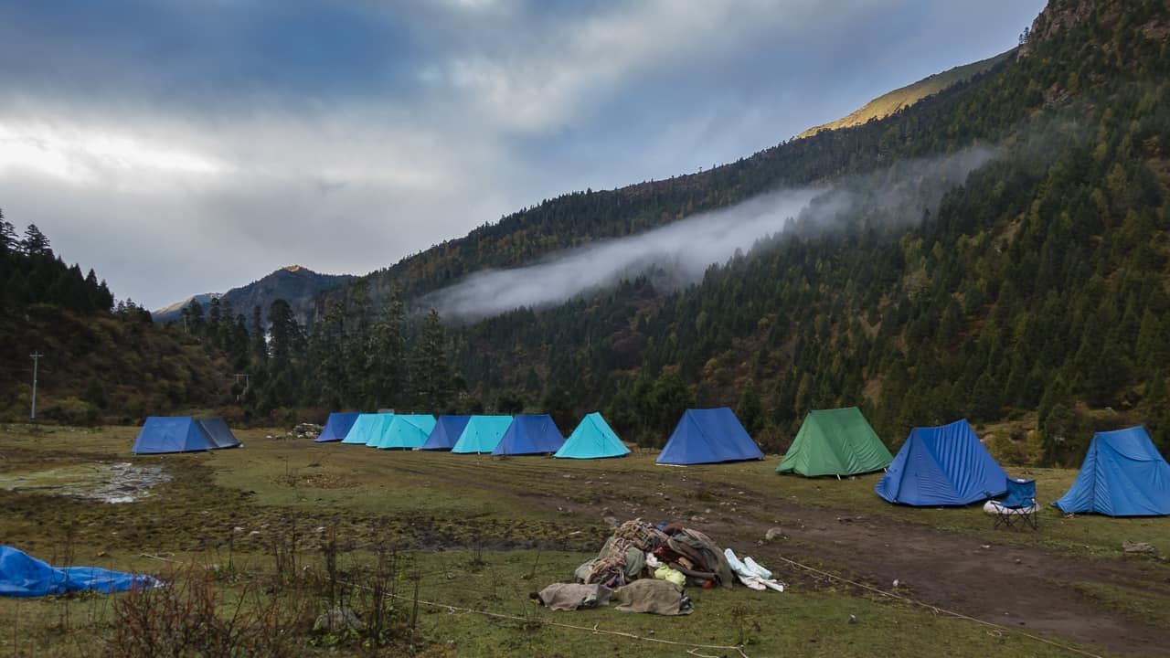 Camp for night 1 on our Bhutan Trek