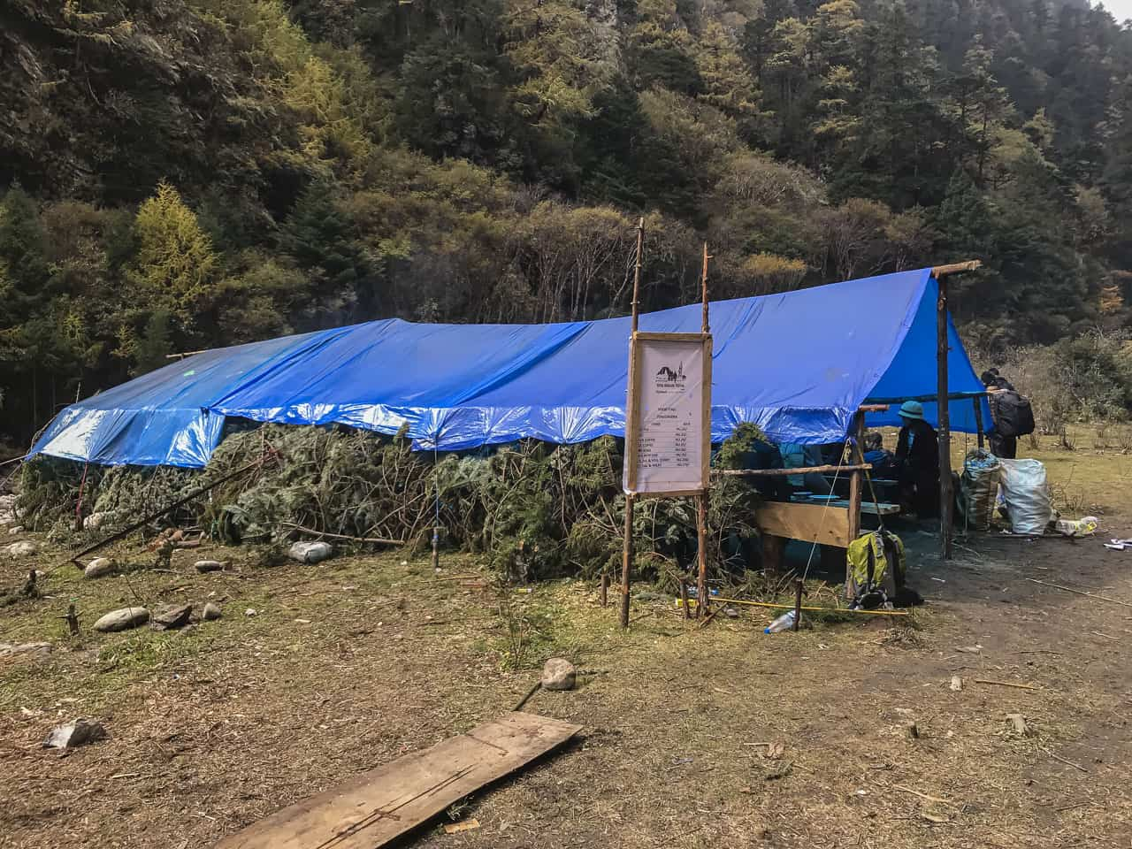 Food stands on the way back from our Bhutan trek to Laya