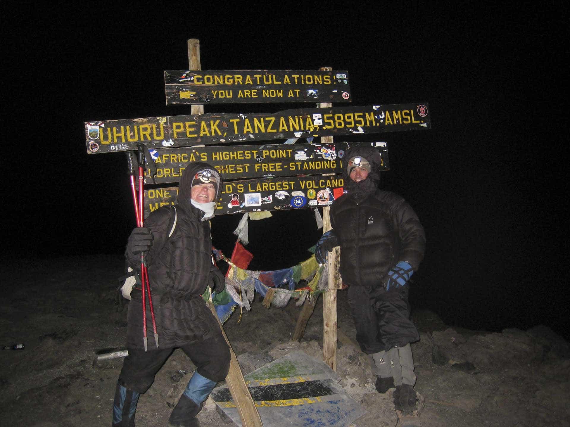 mount kilimanjaro summit sign dave and deb