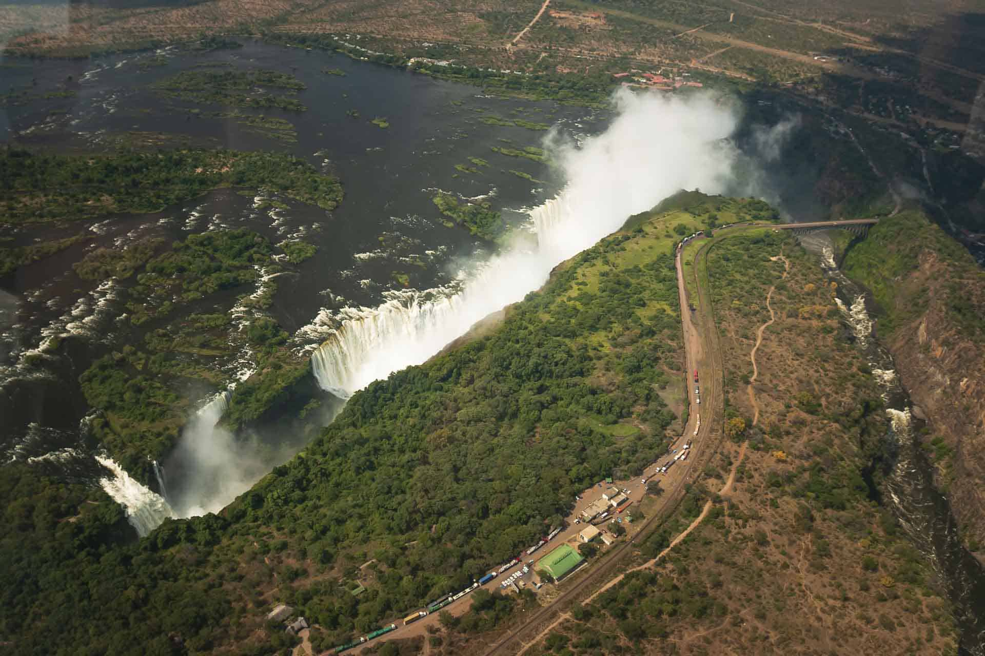 overhead view of Victoria Falls