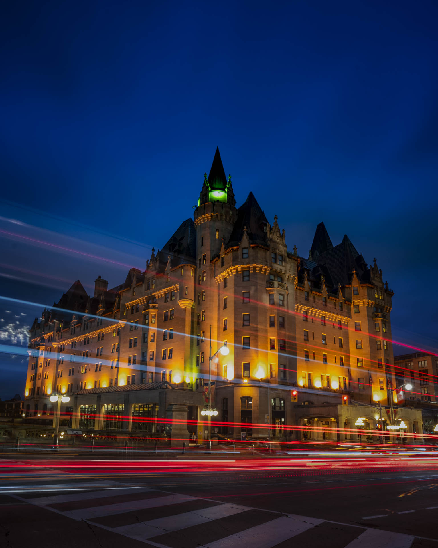 ottawa at night chateau laurier