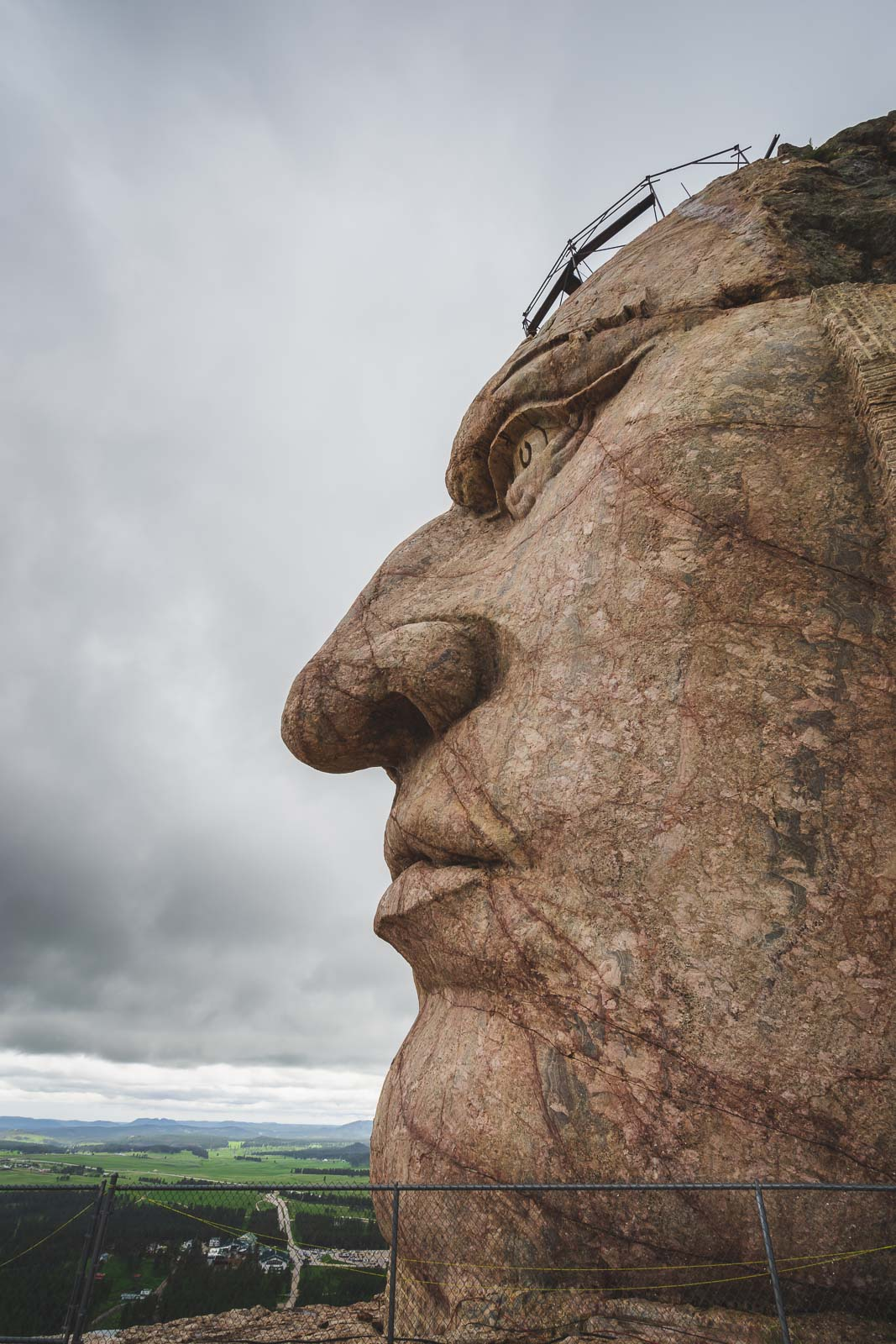 close up of face of crazy horse monument