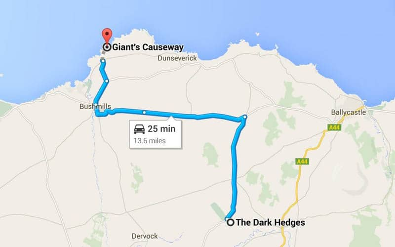 Map to The Dark Hedges in Northern Ireland