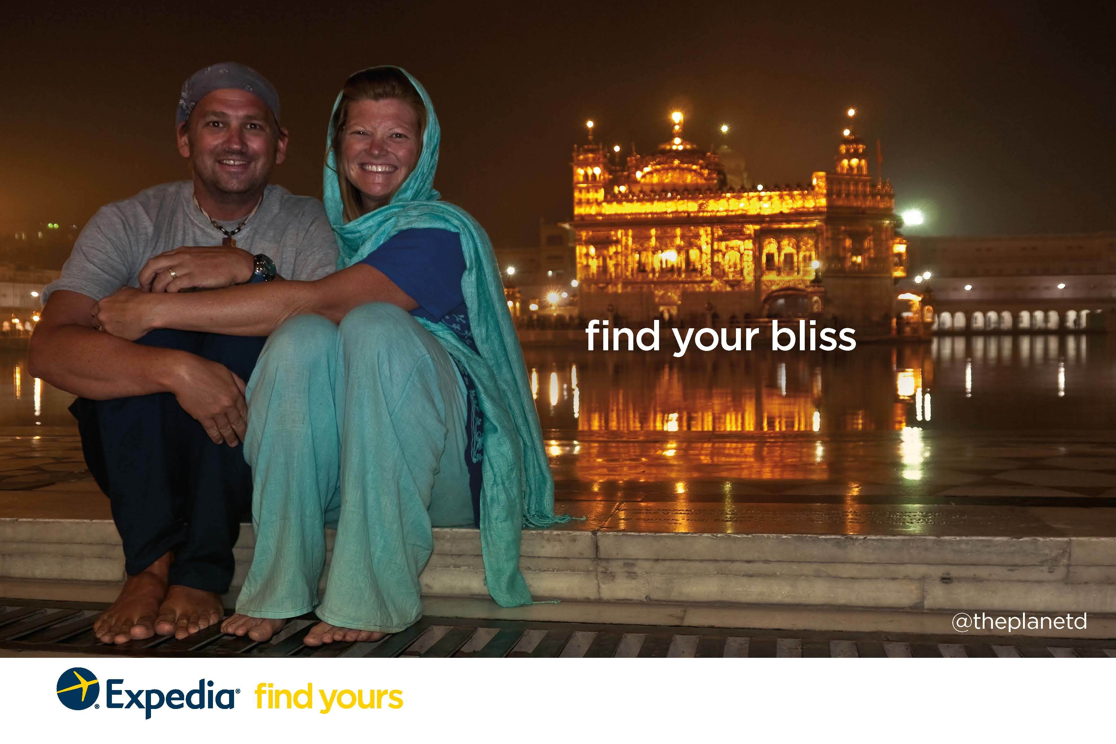 travel couple at Golden Temple in Amritsar India