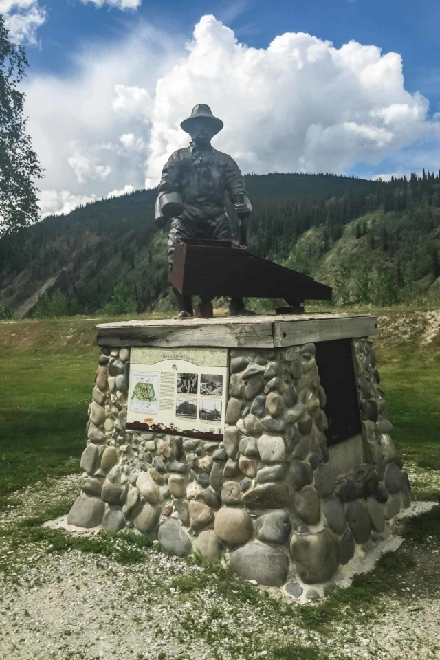gold rush monument in Dawson City Yukon