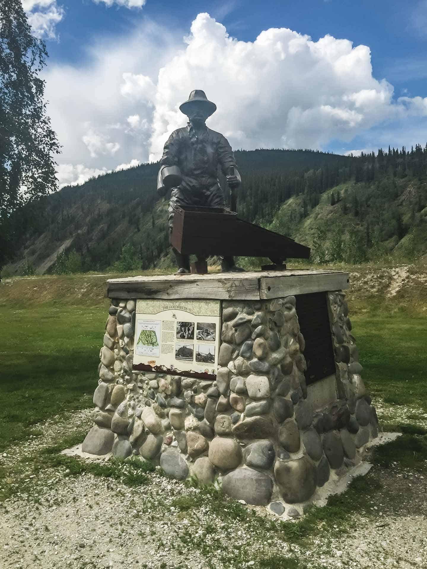 gold rush monument in Dawson City Yukon