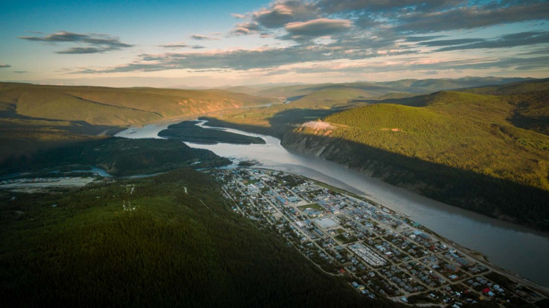 midnight dome overlooking Dawson City and Yukon River