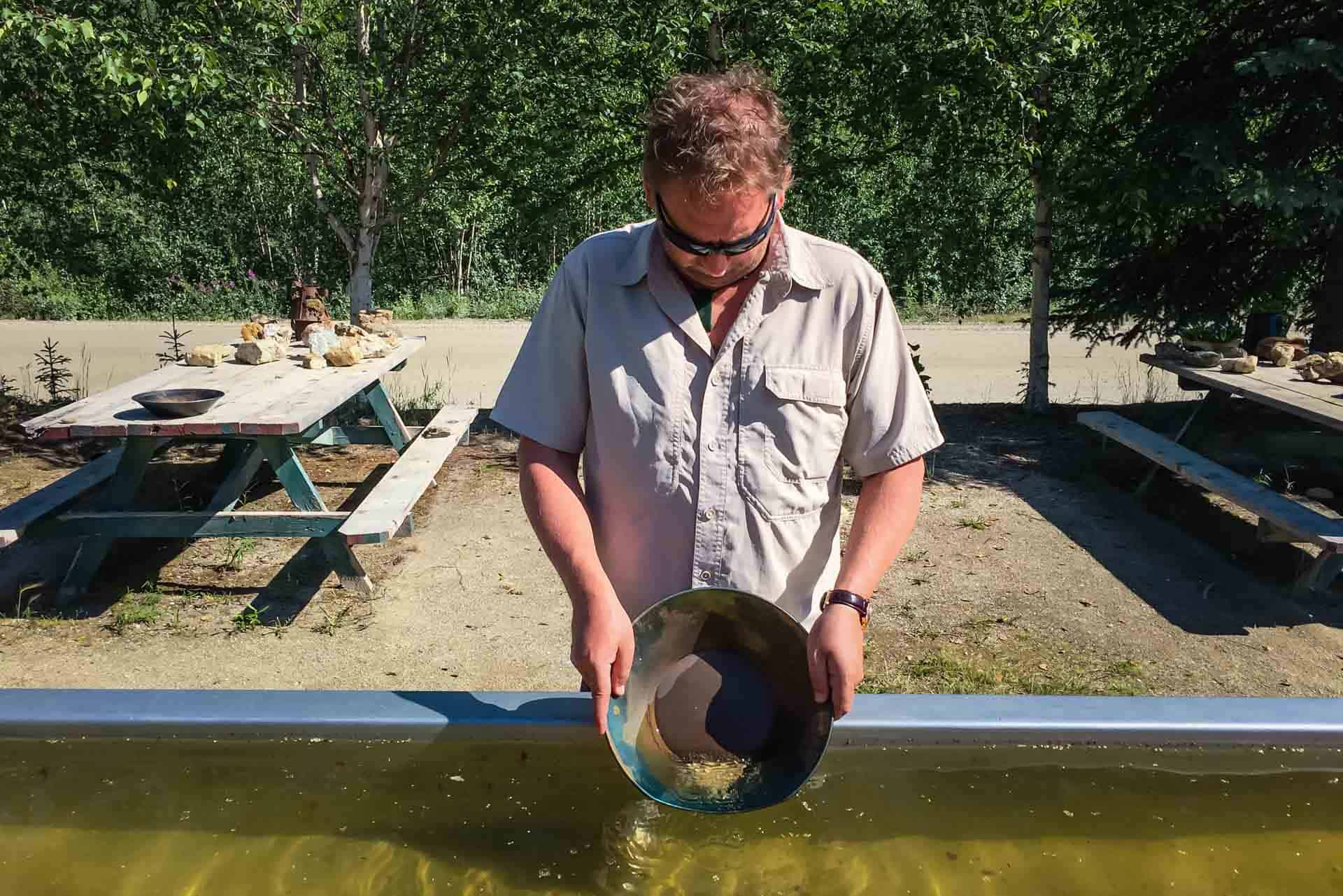 panning for gold at claim 33 in the yukon