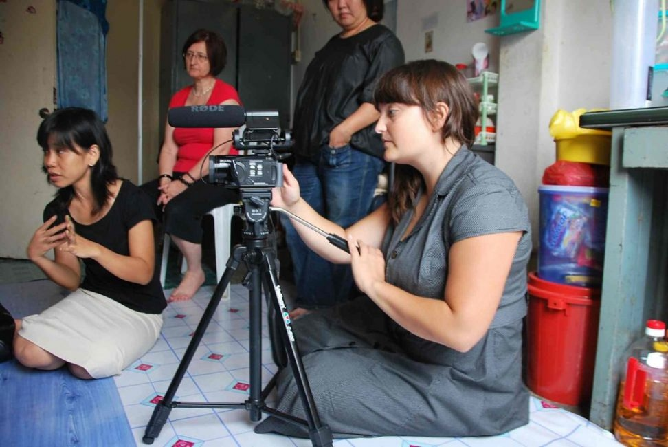 Filming the Myanmar Refugee Community in KL, Malaysia. Photo courtesy of Belle Luer
