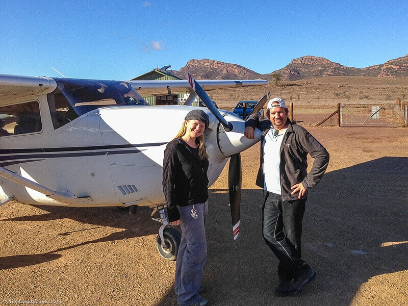 Flinders Ranges Mountains in Australia - Dave and Deb at the remote airstrip of Wilpena Pound