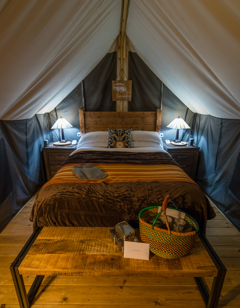Inside our Glamping Tent at Ventana Resort, Big Sur.