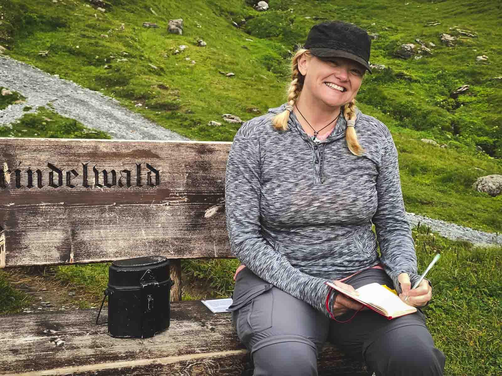 Simones Bench at Lake Balchap on Grindelwald First