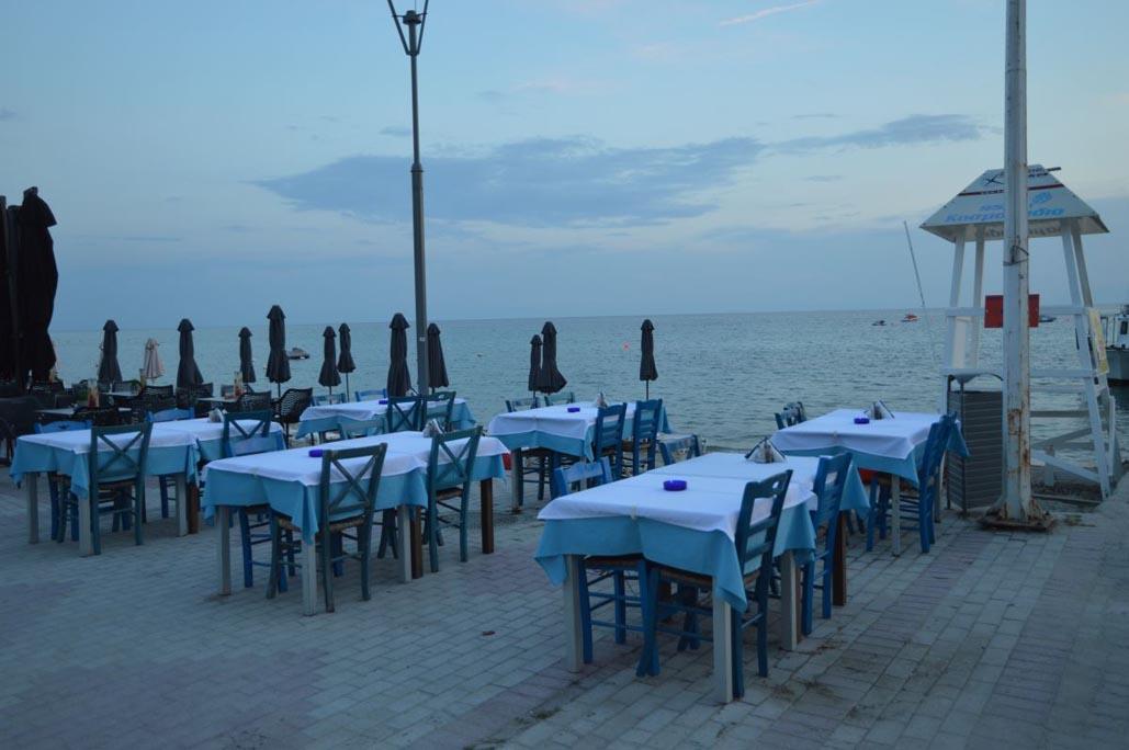 greek restaurant in halkidiki at dusk