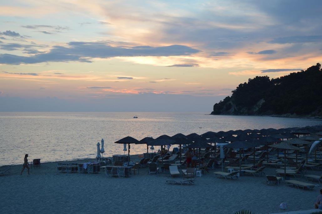 sunset on beach halkidiki greece