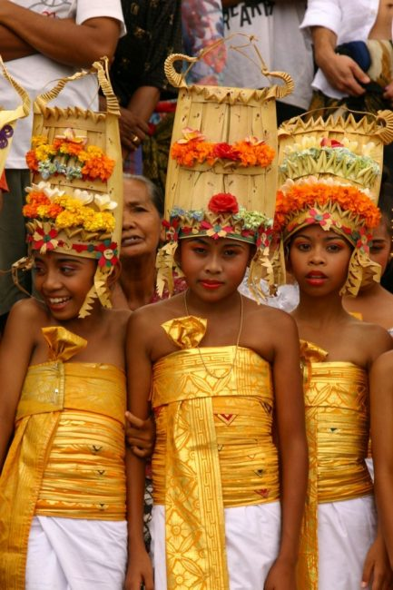 Balinese Girls at Cremation Ceremony. Bali