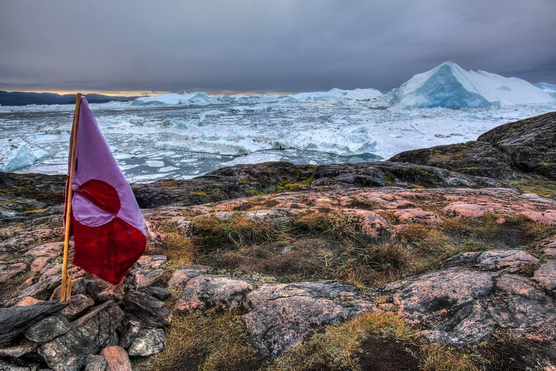 Ilulissat Glacier Greenland flag