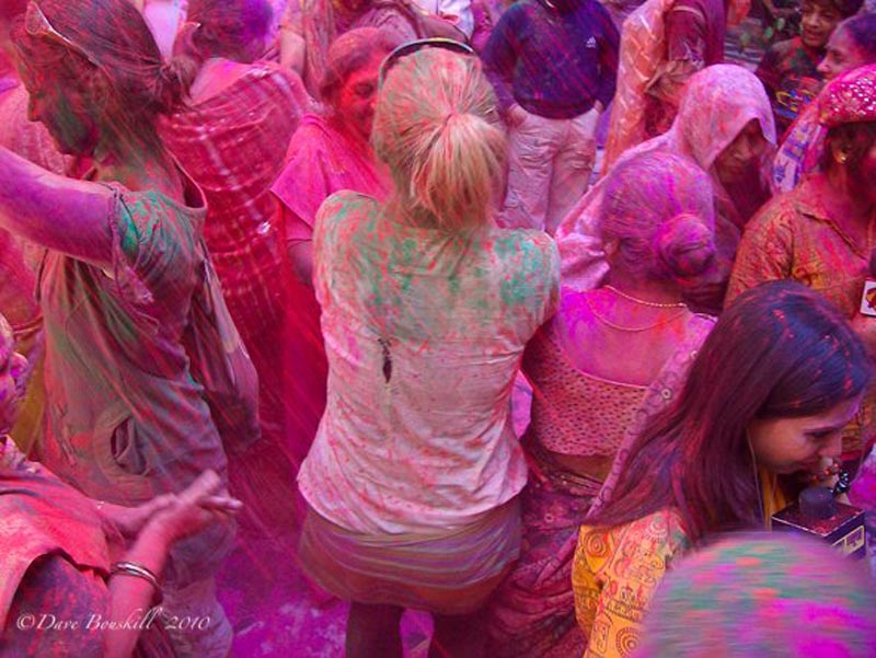 Deb celebrating Holi in India
