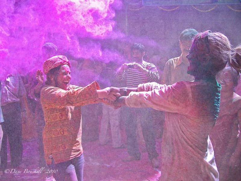 dancing at Holi Festival Mathura India