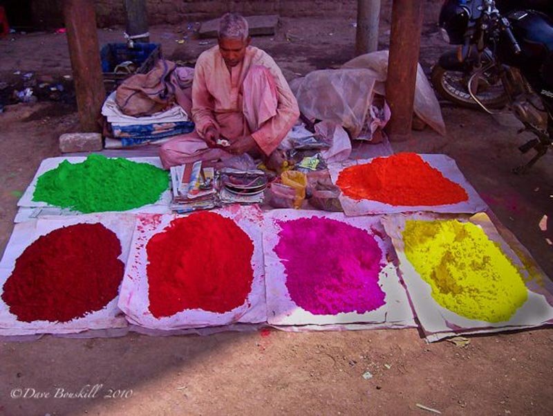 holi india festival powder piles