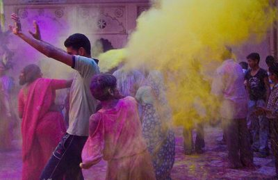 holi festival india throwing powder