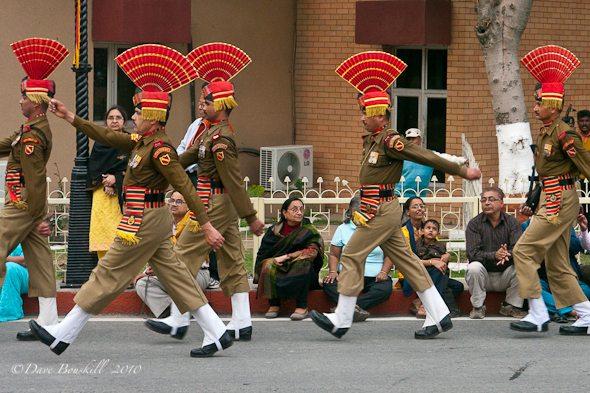 guards march at border Pakistan border ceremony