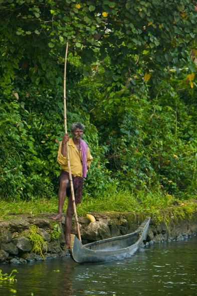 man on river in backwaters of Alleppey